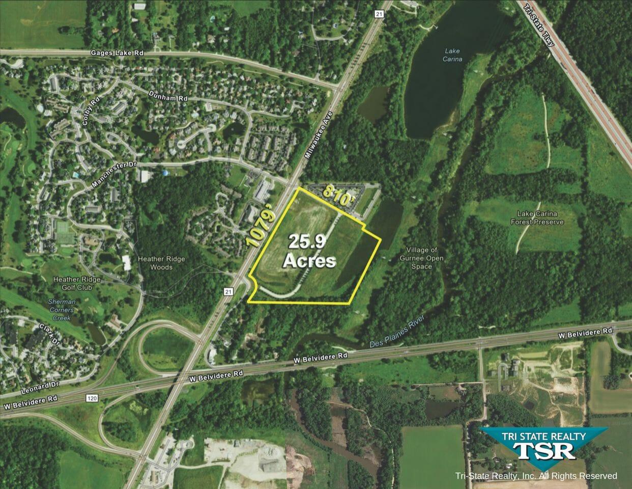 25.9 Acres Commercial Site North IL Route 21 Gurnee IL